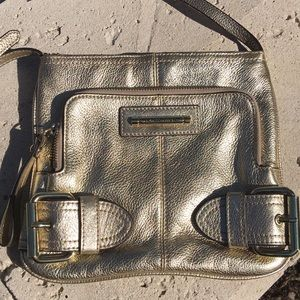 FRANCO SARTO Gold Leather Crossbody Bag Purse